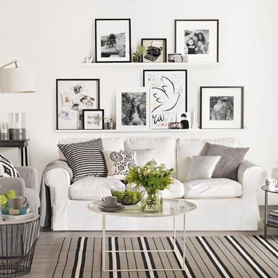 Multiple floating ledges with gallery style photos