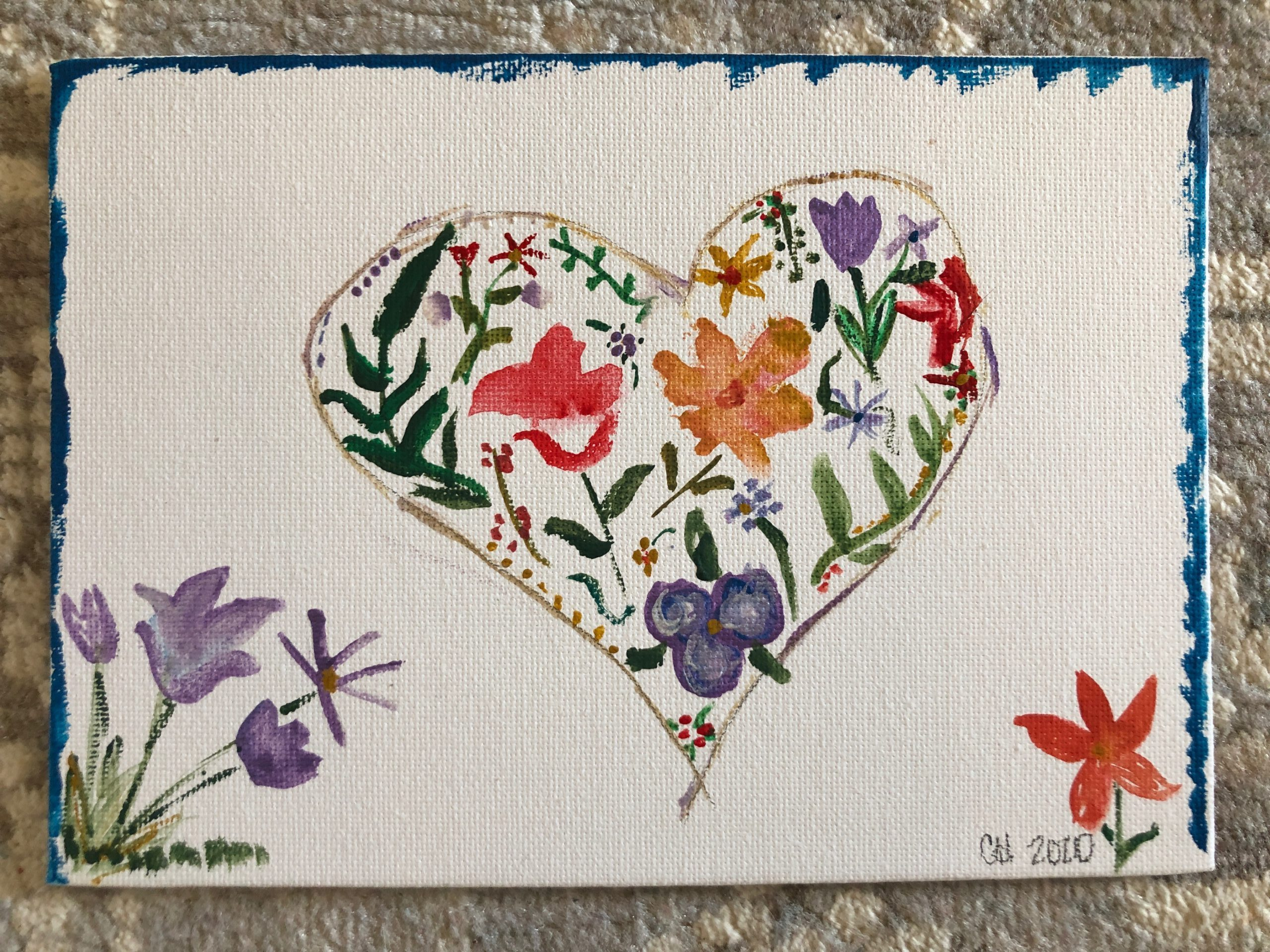 handpainted heart flowers