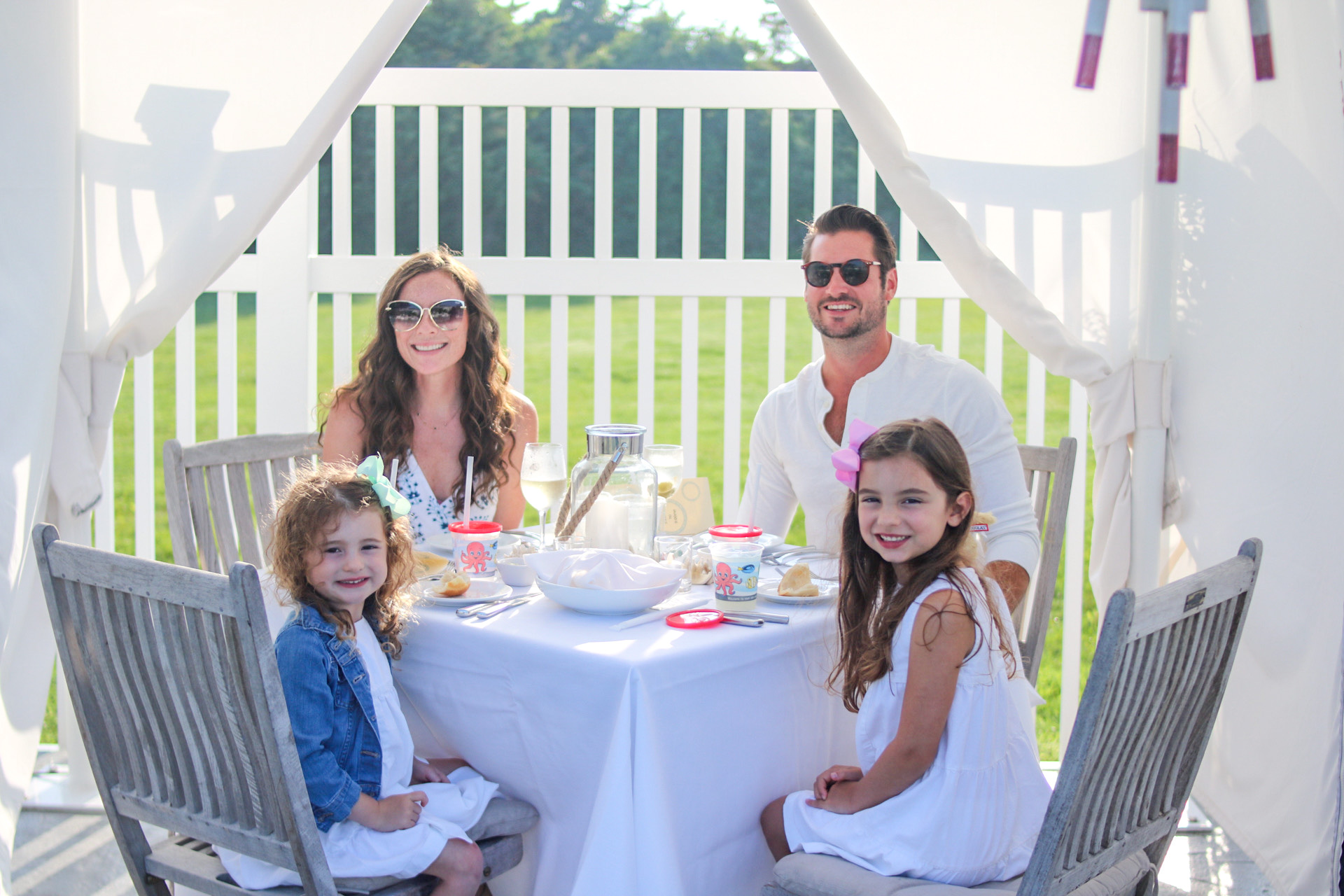 family dining in private poolside cabana at Dunes at Winnetu