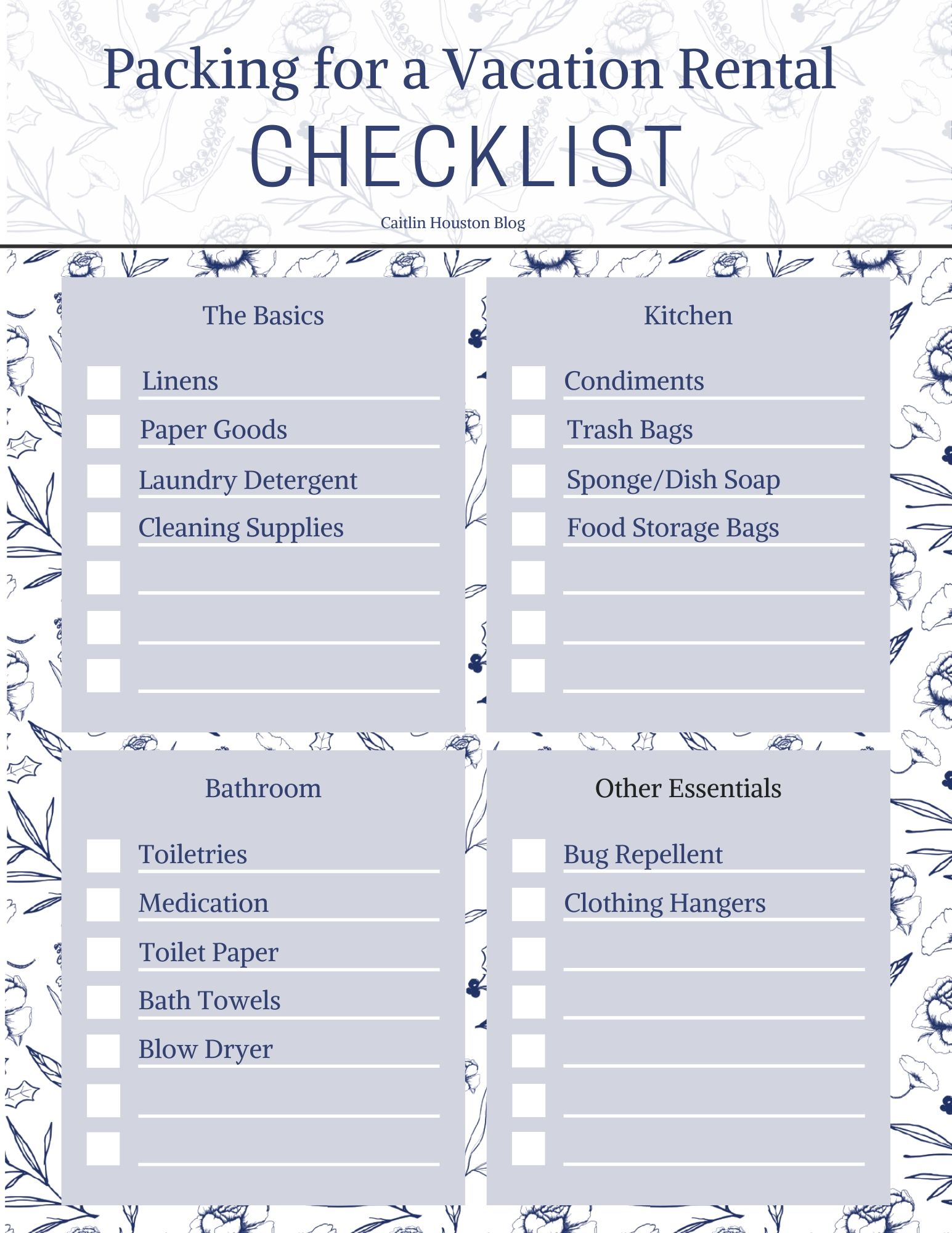 Packing for a Vacation Rental Checklist