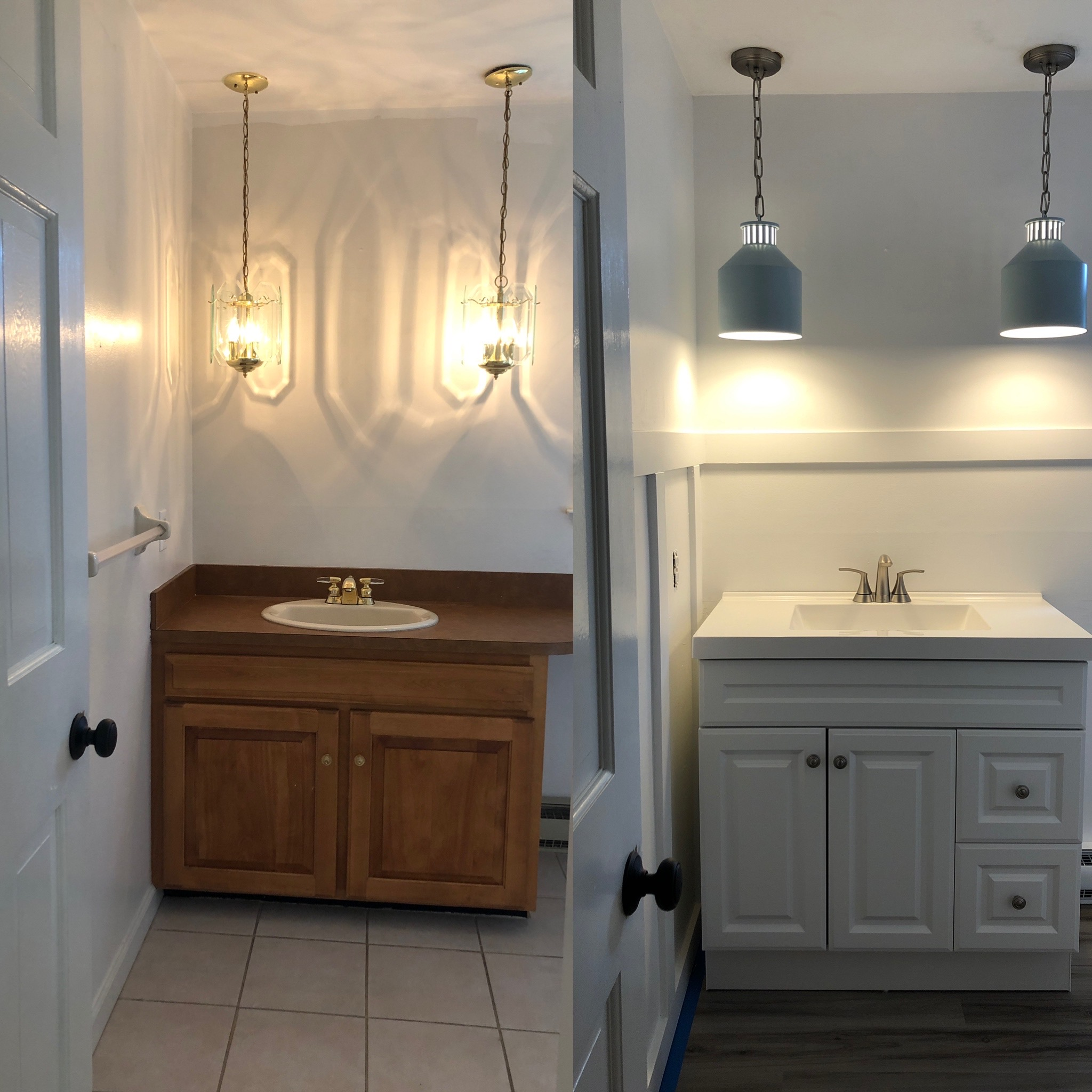 Bathroom Renovation Before and After - White Board and Batten, White Vanity, Light Blue Light Fixtures Pendant Style