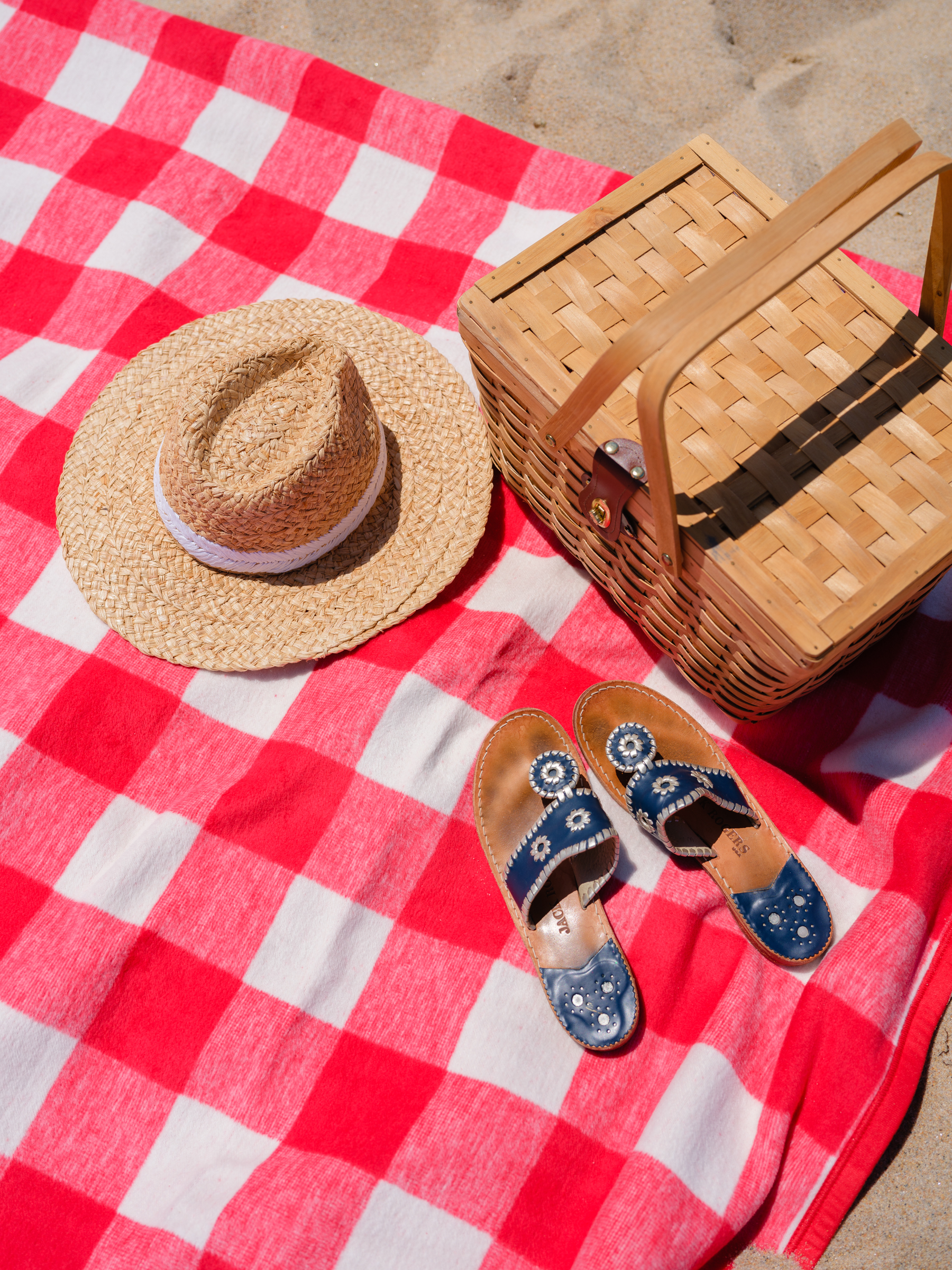 Chappy Wrap Beach Picnic with Red Gingham Blanket, Jack Rogers, Hat Attack Summer Hat and Picnic Basket