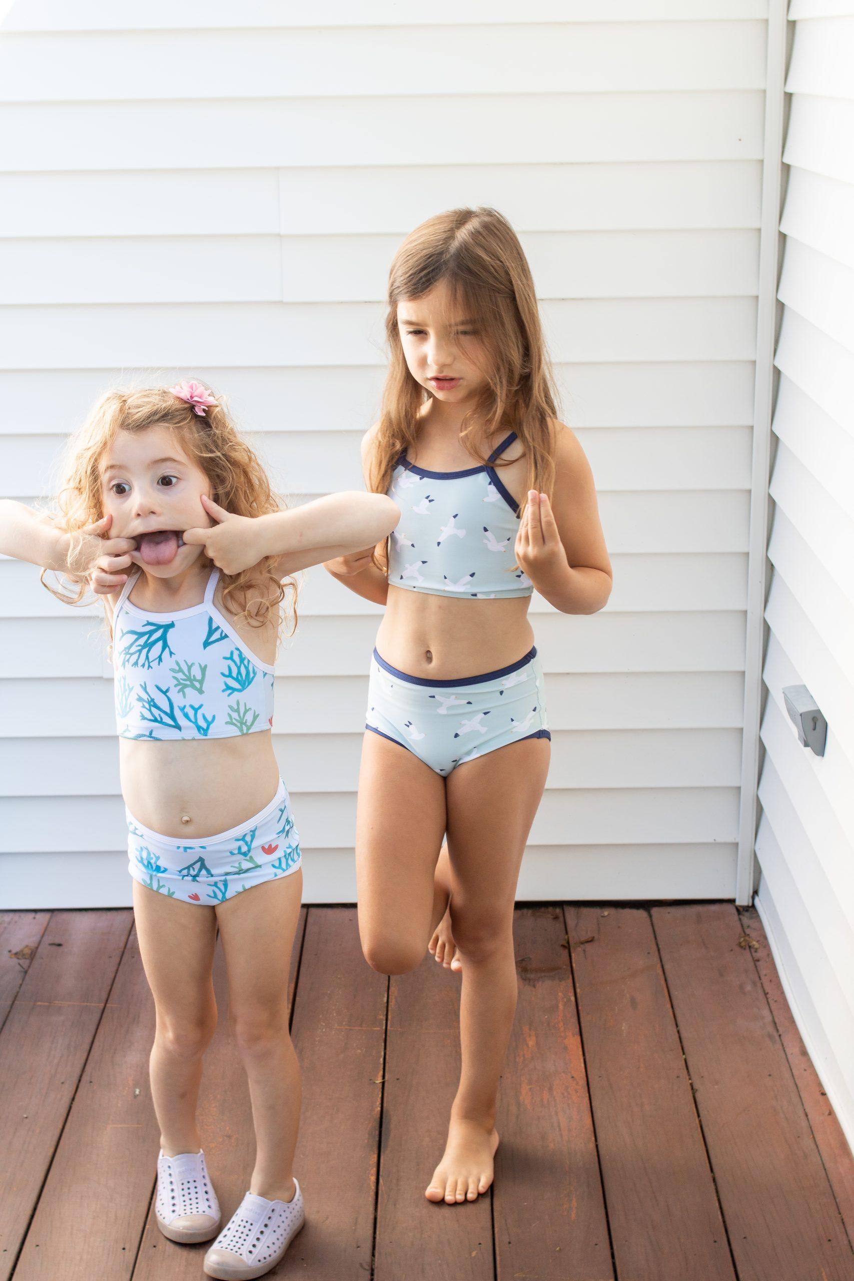 Little Girls in Pearl Street Swim bathing suits