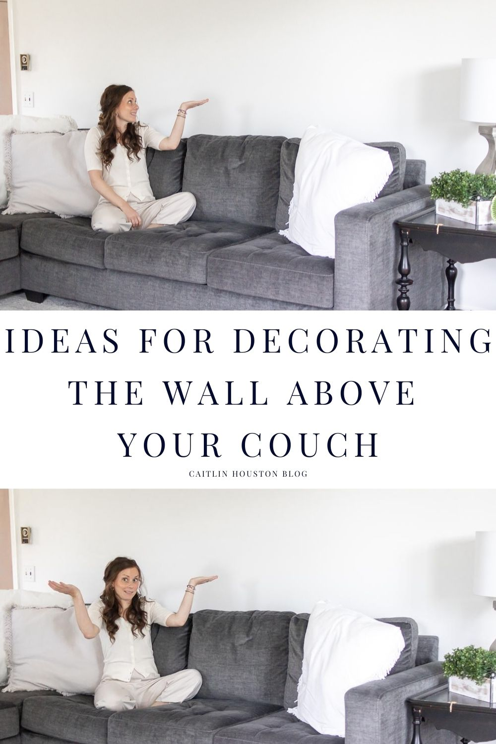 woman sitting on couch with blank wall above her