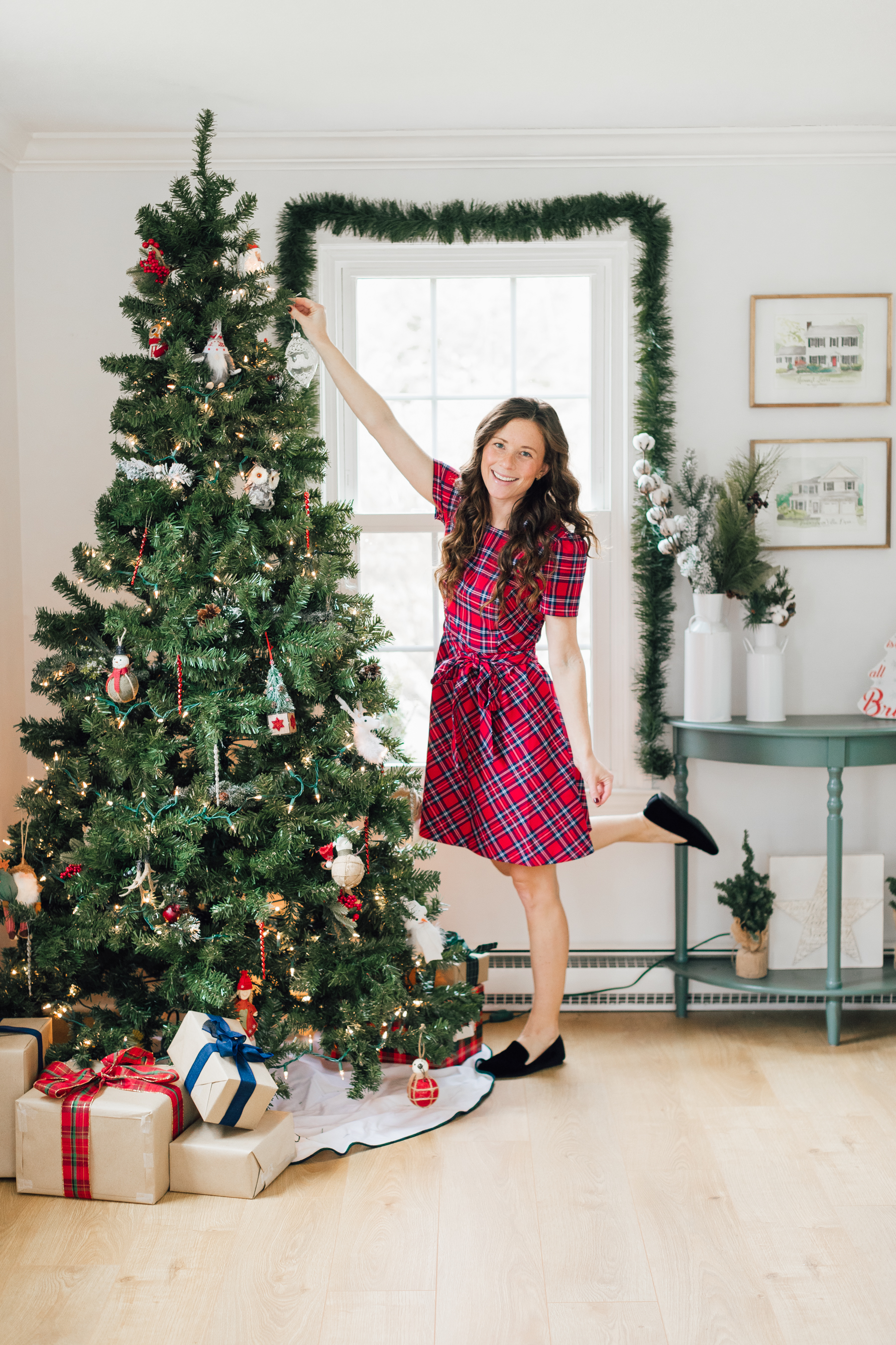 girl in red plaid dress velvet Birdies christmas tree