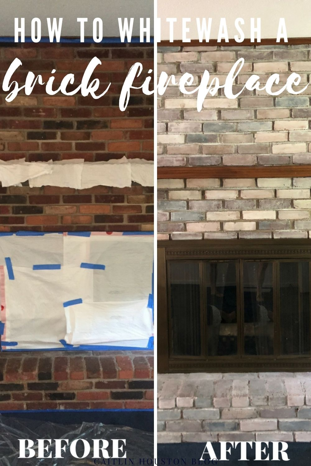 Here is how to whitewash a brick fireplace in seven easy steps, as well as a material list for this DIY Whitewash Fireplace project.