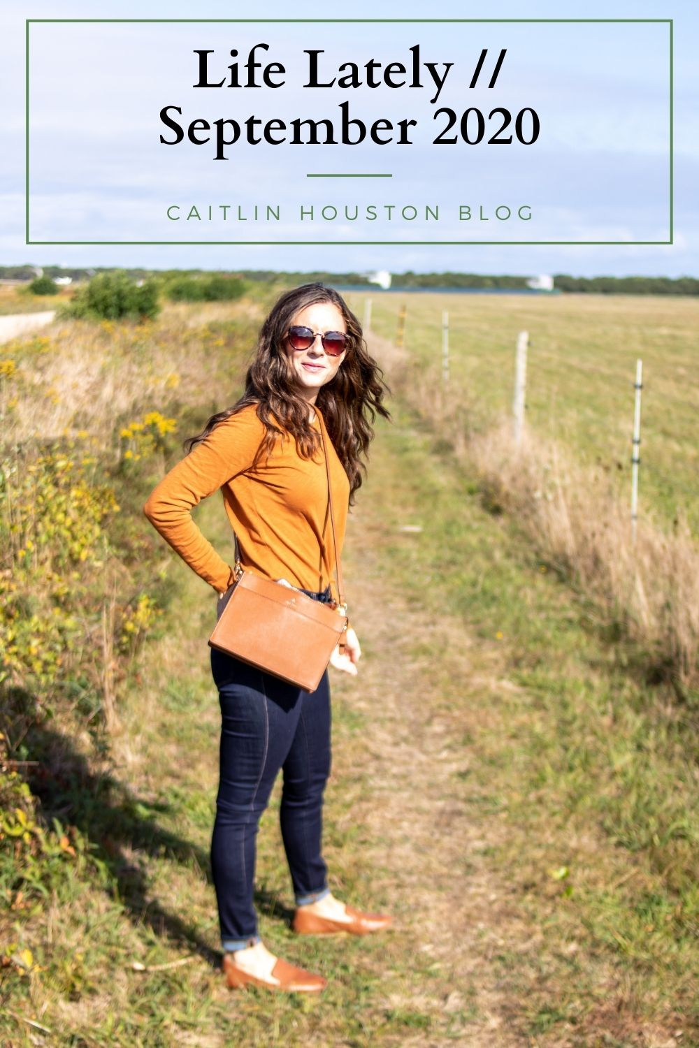 woman in orange and denim fall outfit life lately september 2020