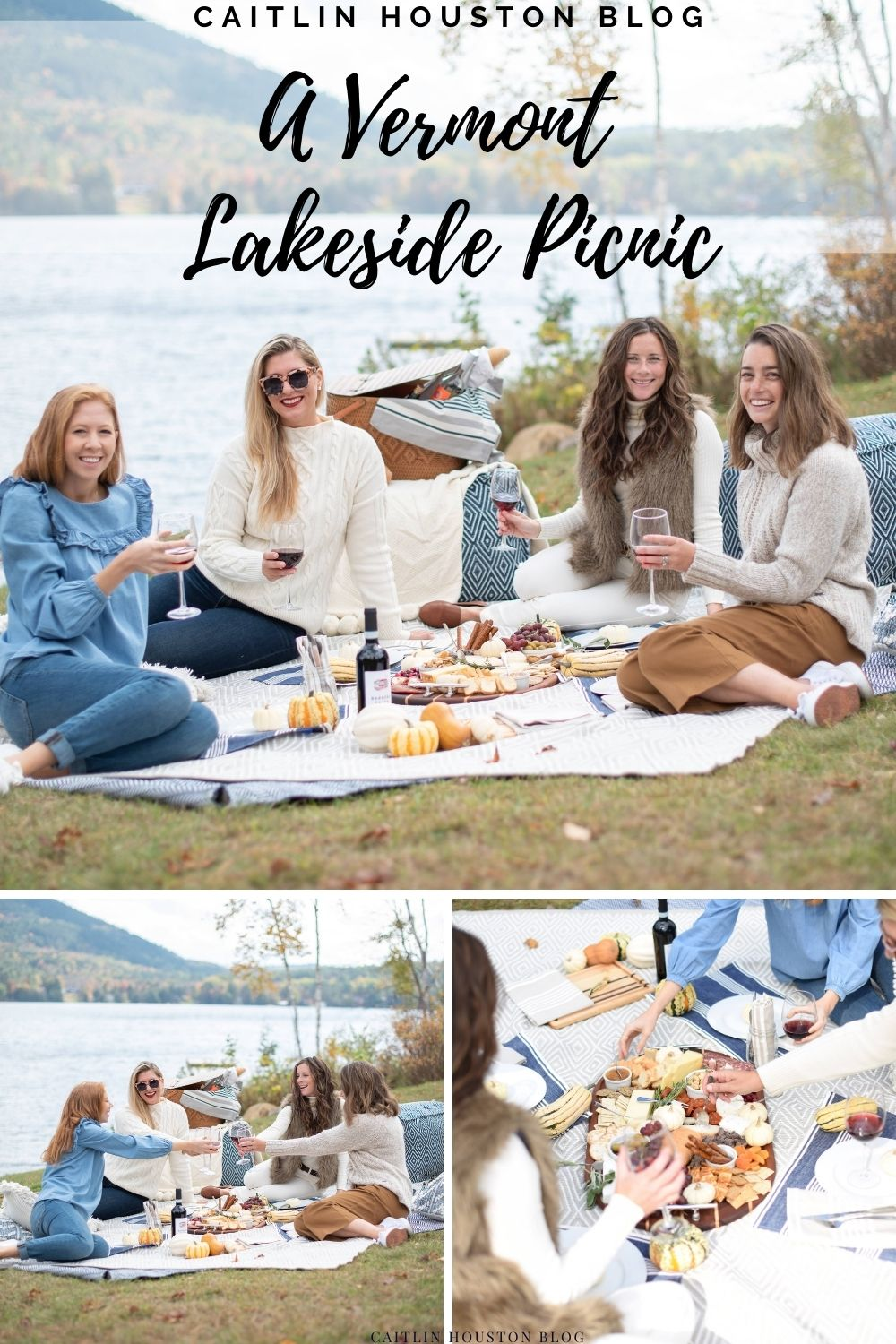 Embracing Autumn with a Lakeside Picnic using Annie Selke rugs, throws, poufs, linens and more. Location Barnet Vermont.