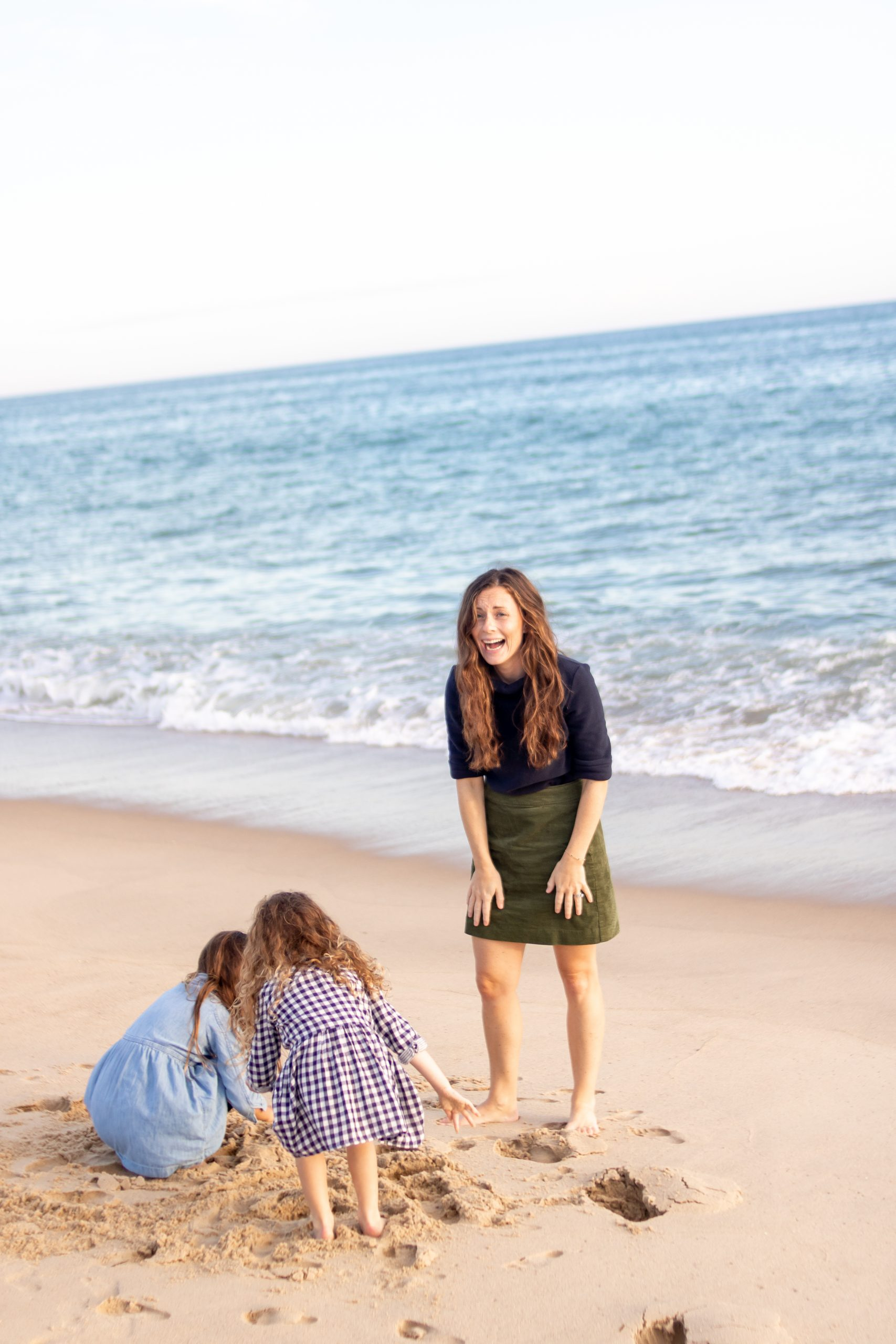 Classic Fall Beach Outfit Dudley Stephens Fleece and Corduroy Skirt with Girls' Plaid and Chambray Dresses