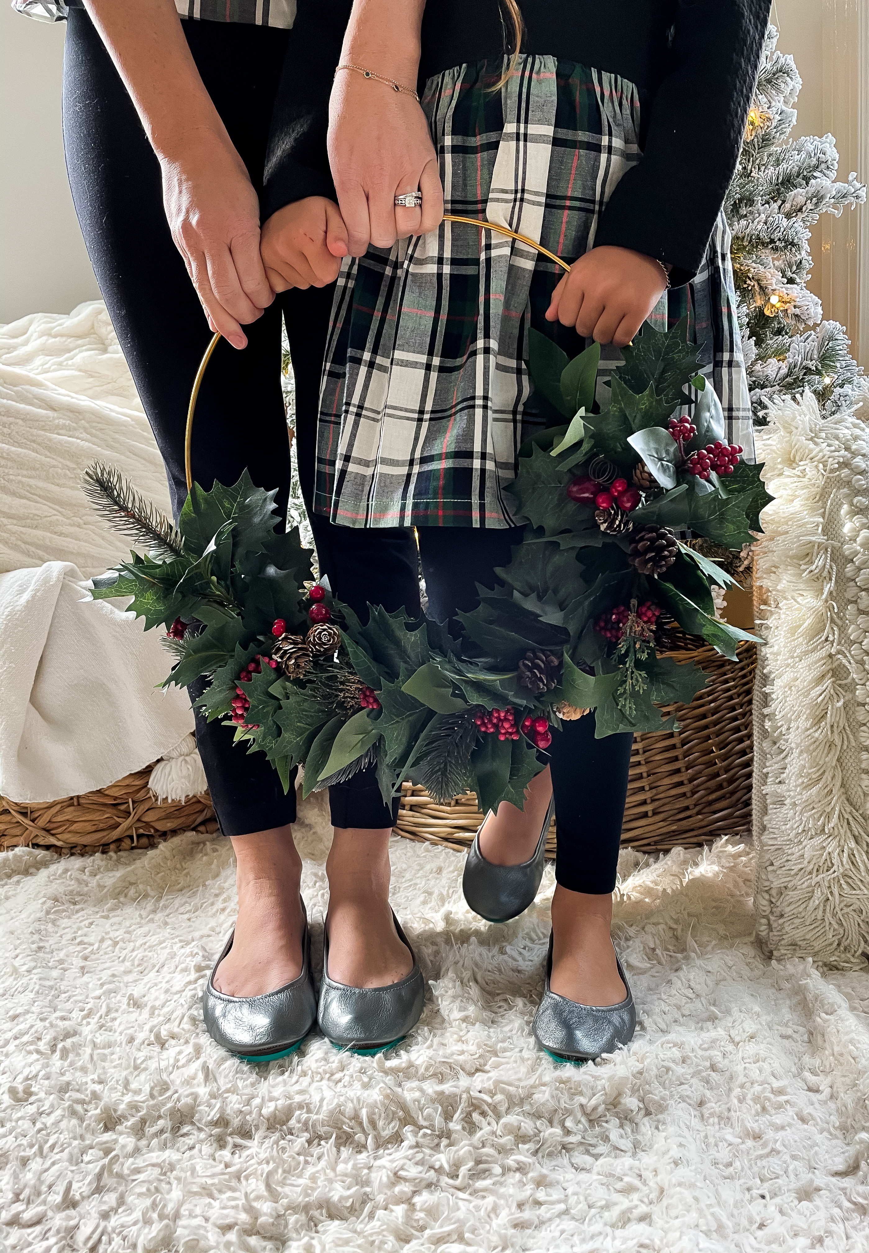 Mommy and Me gray ballet flats holiday wreath