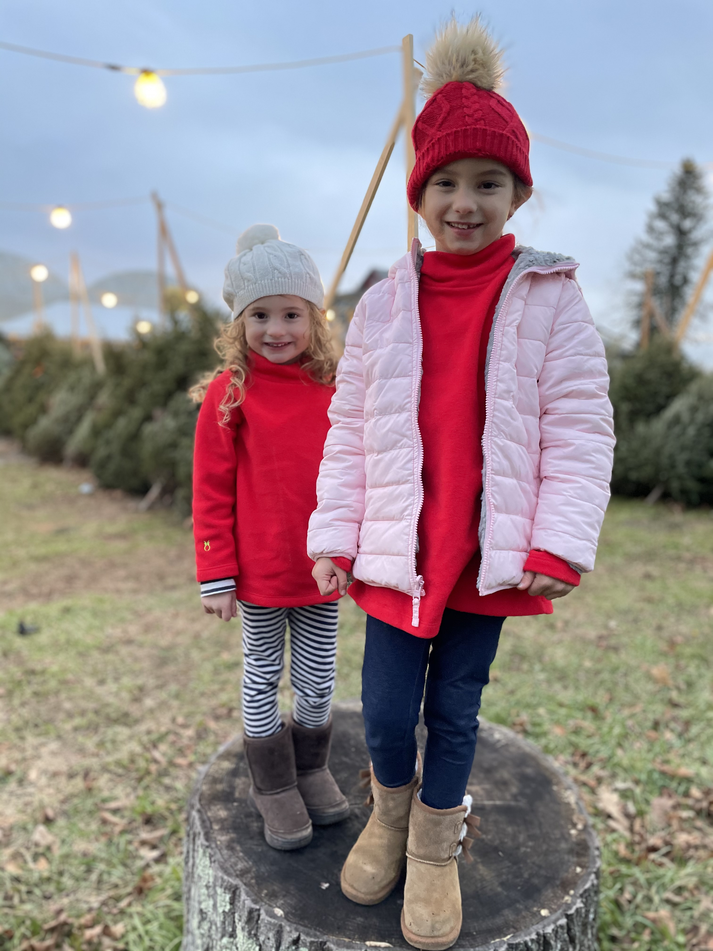 little girls in dudley stephens at Christmas Tree Farm
