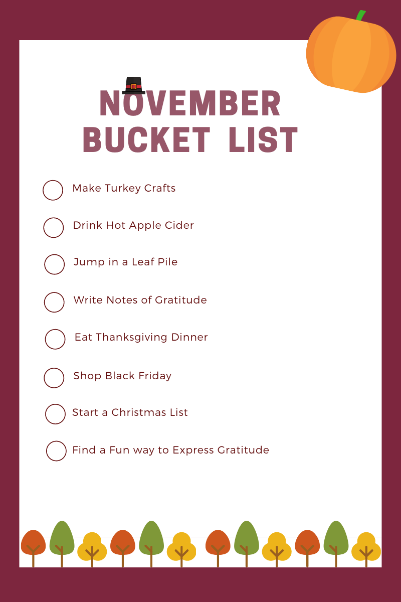 November Bucket List printable