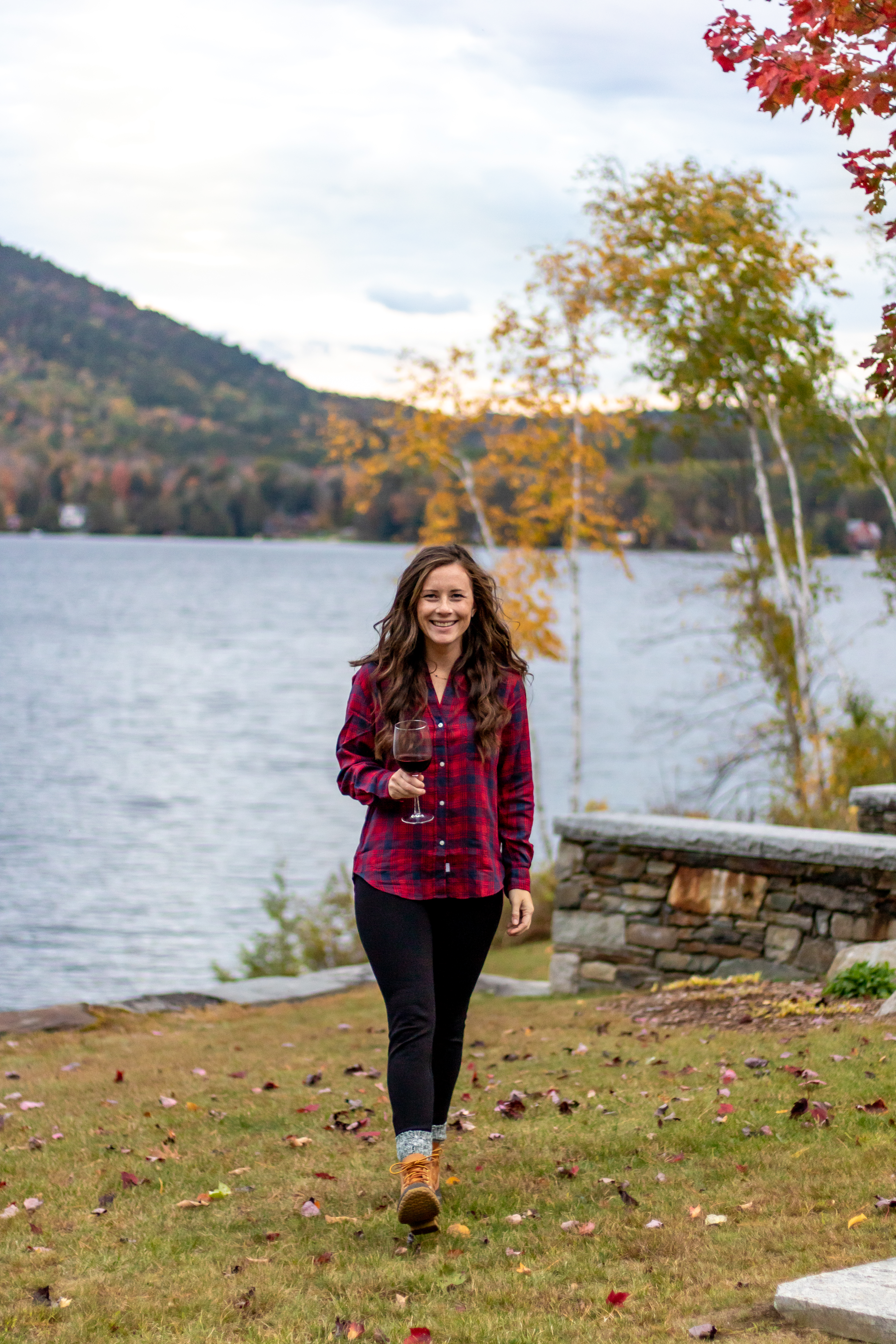 Blogger in Red Plaid Grayson Flannel in Vermont