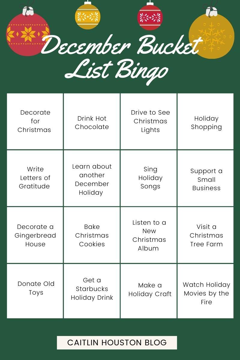 December Bucket List Bingo