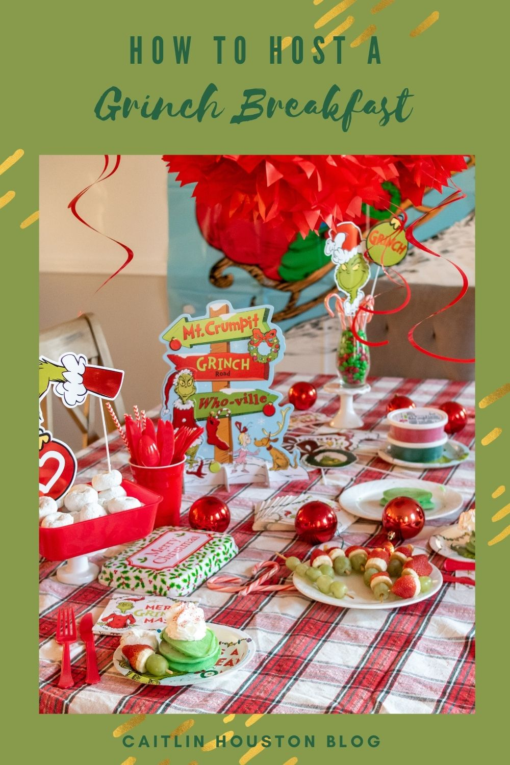 How to Host a Grinch Breakfast Party with Grinch Themed Foods, Grinch Decorations, and more.