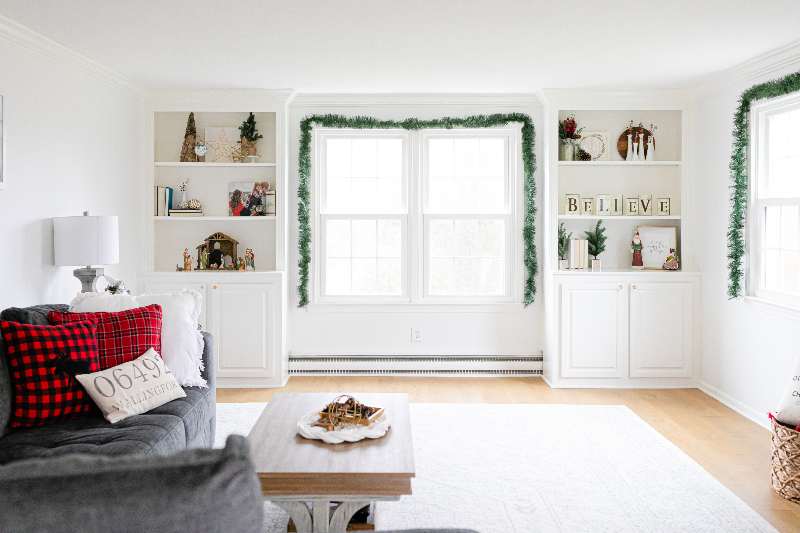 built in shelves decorated for Christmas