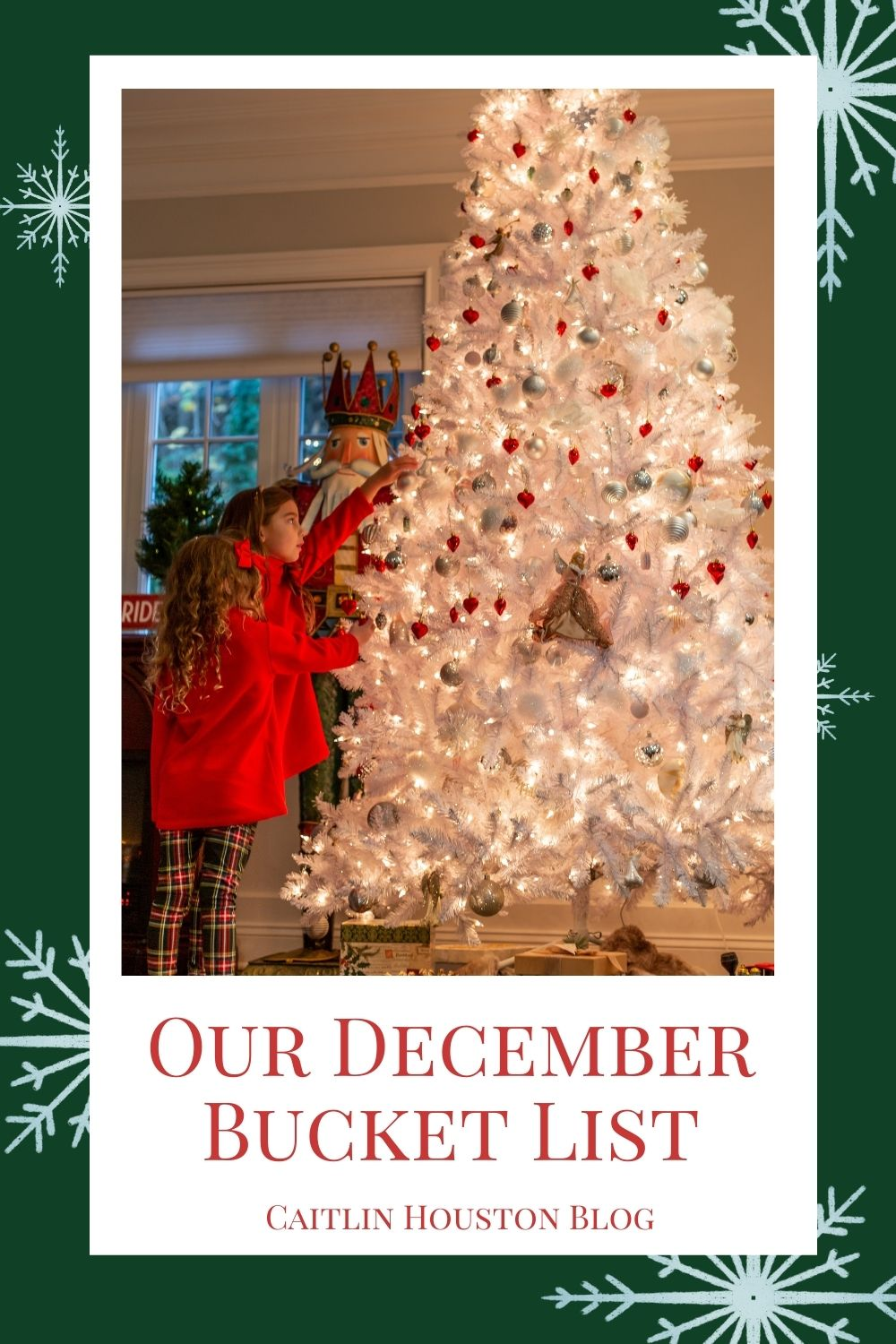 Our December Bucket List - little girls putting ornaments on white christmas tree