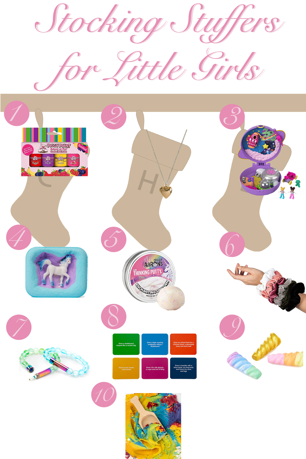 Stocking Stuffers for Little Girls Ages 4-7 - Polly Pocket, Markets, Scrunchies