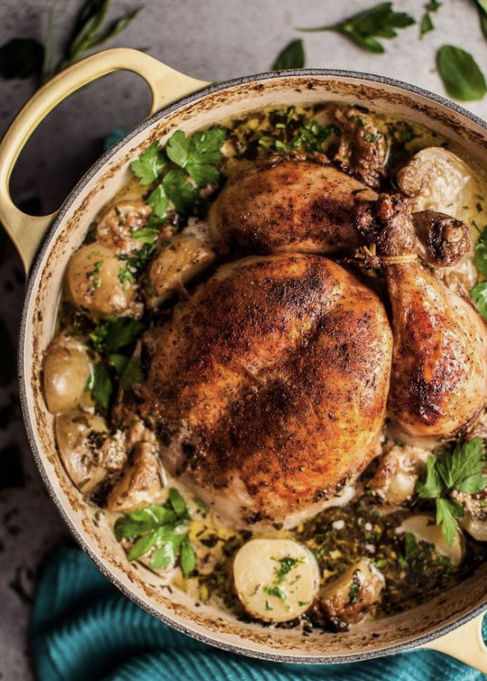Creamy Lemon Herb Pot Roasted Chicken