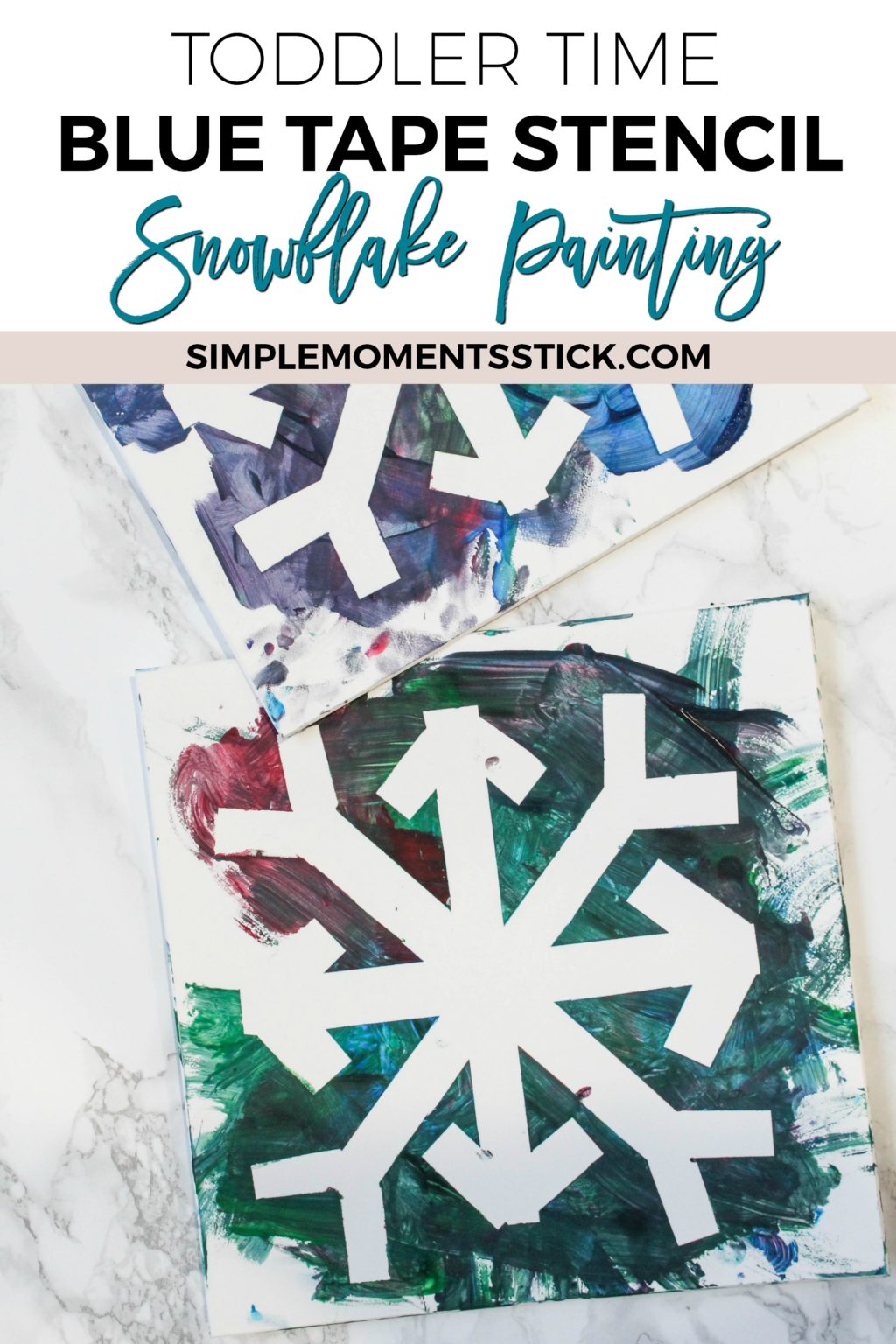 Indoor Winter Activities for Kids - Snowflake Painting with Tape Stencils