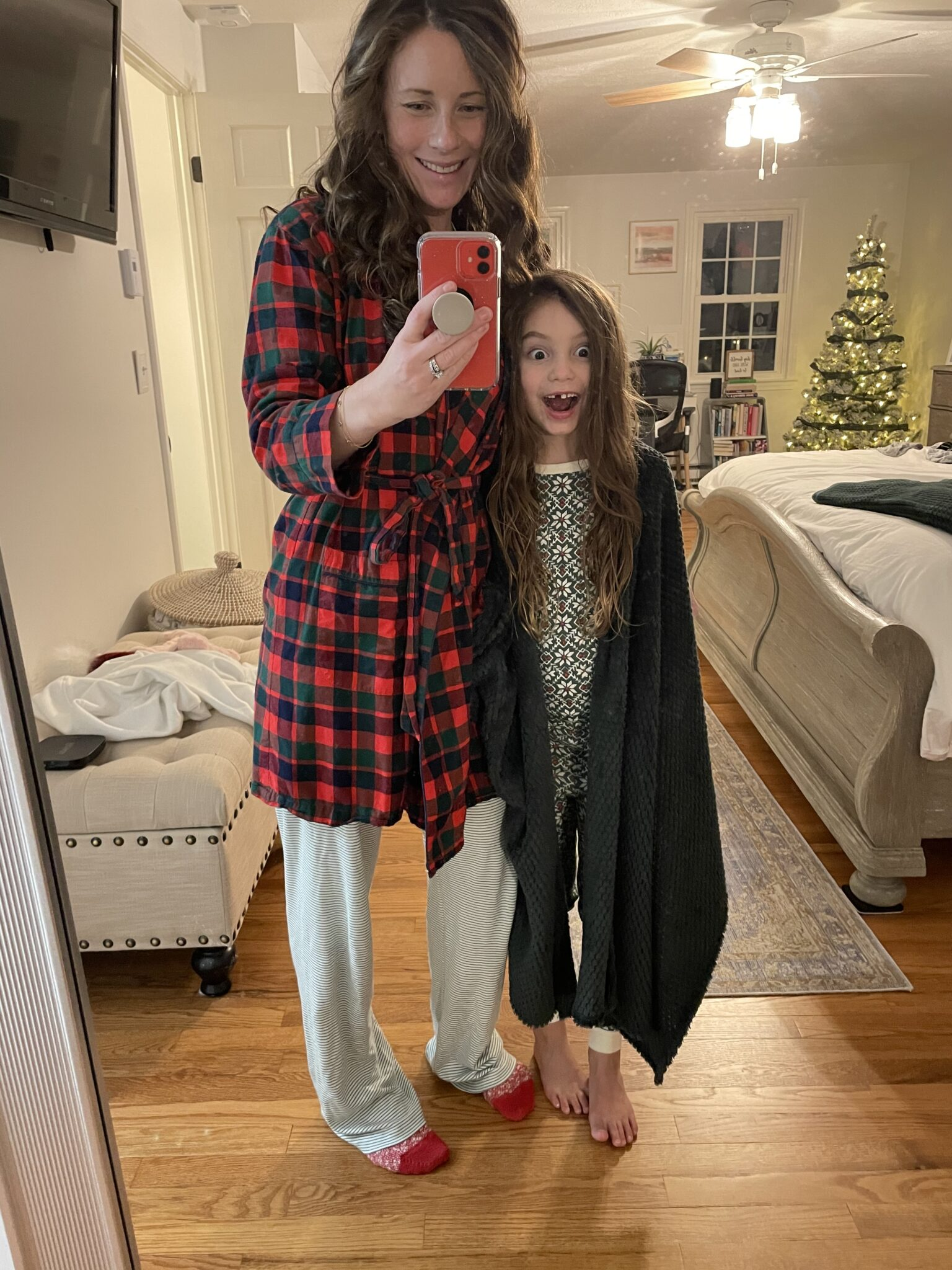 mom and little girl in pajamas