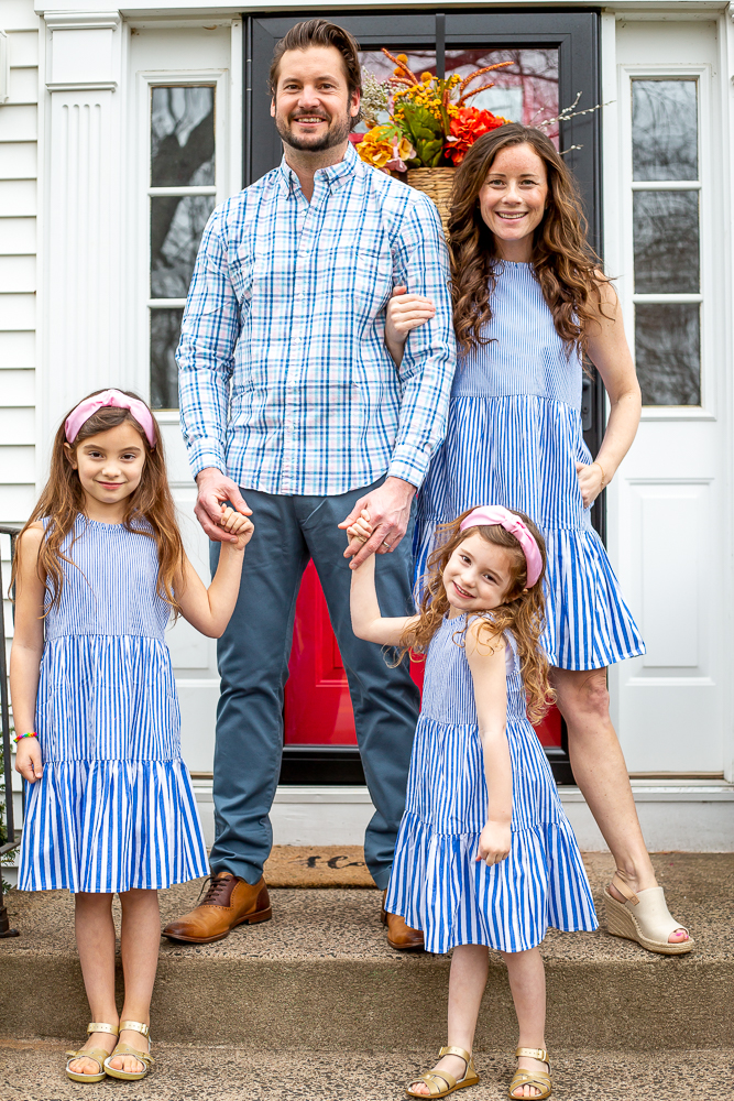 Family in Matching Blue outfits for Spring