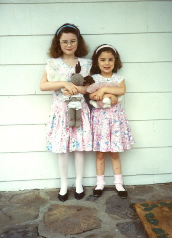 sisters in matching Easter dresses