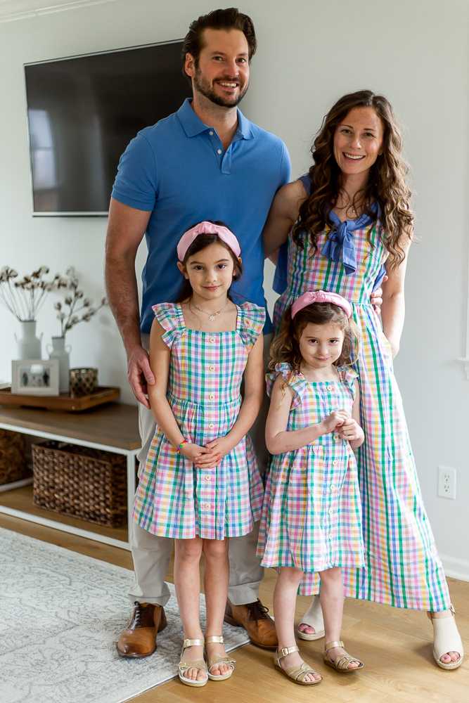 family in gingham matching outfits