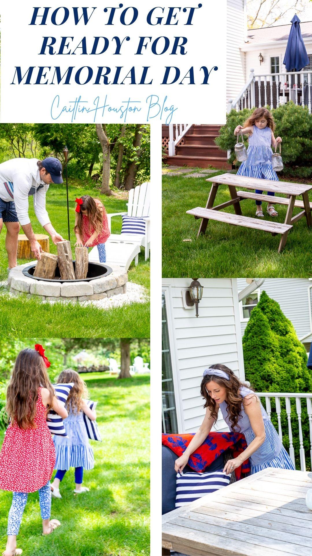 family preparing backyard for entertaining