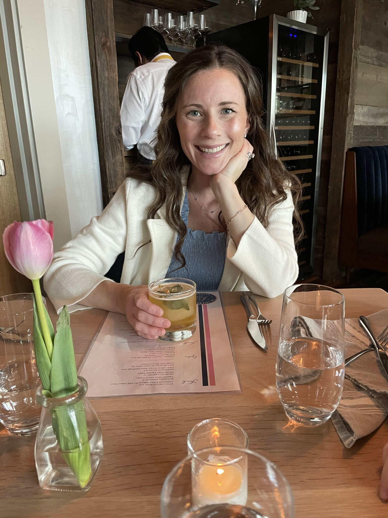 Caitlin Houston Shipwright's Daughter with cocktail The Pharmacist