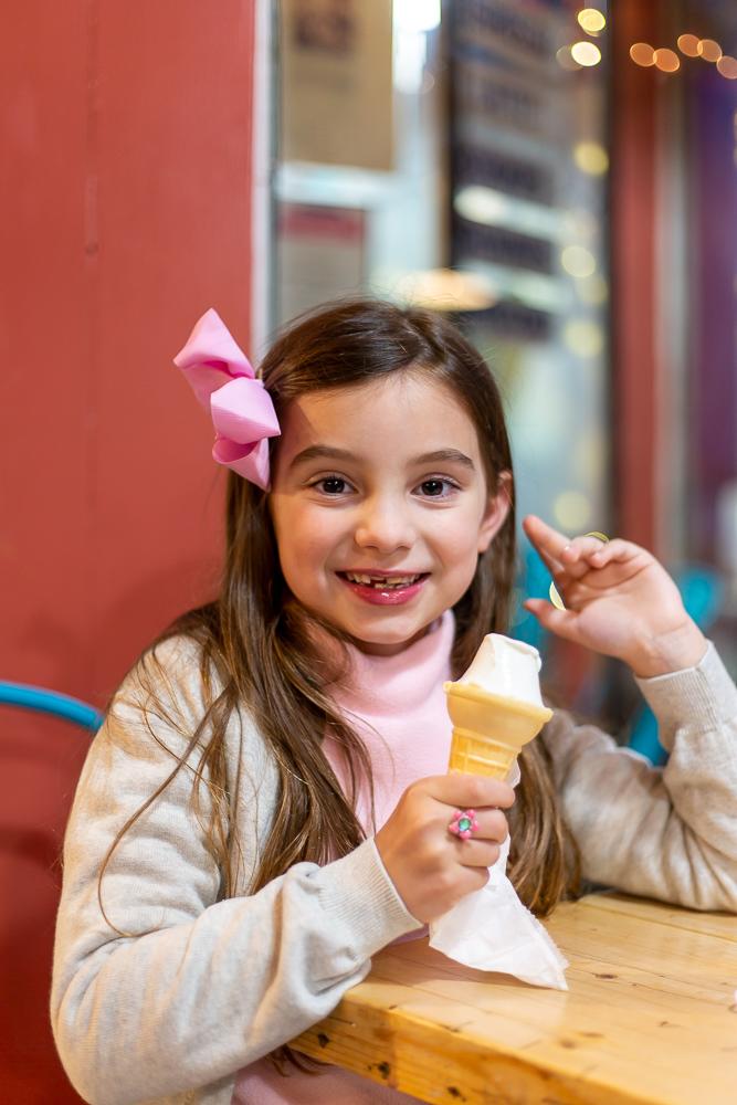 little girl with Ice cream at Draw bridge Ice Cream Mystic