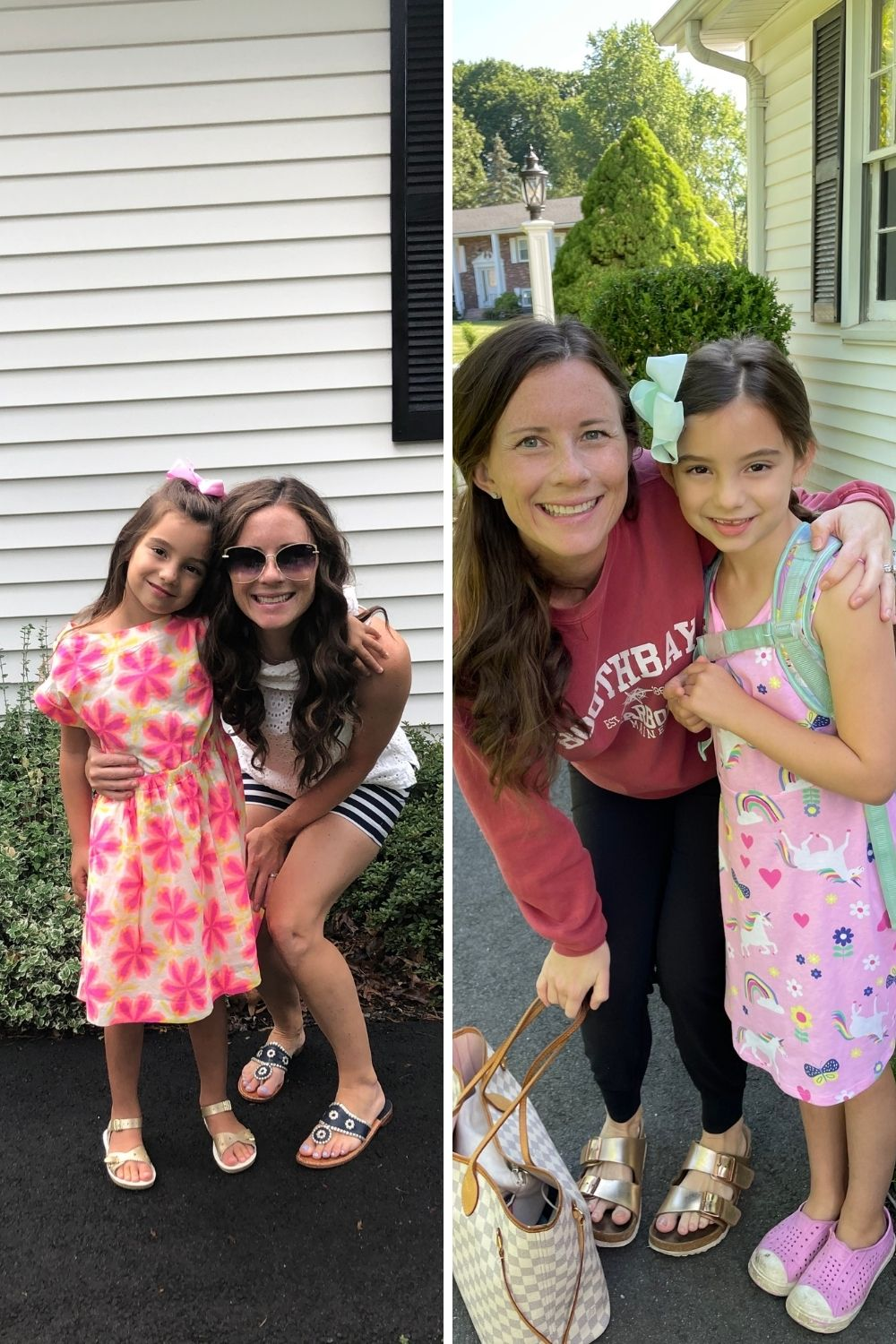 Mom and Daughter first and last day of school