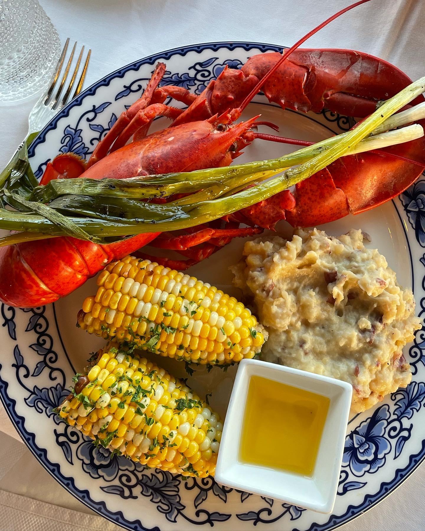 Grilled Lobster dinner at Spruce Point Inn