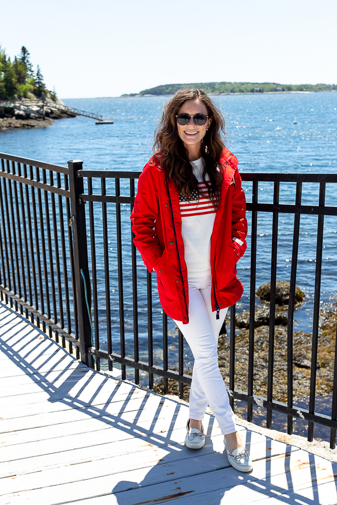 joules red raincoat, american flag sweater, white denim, boating outfit for Maine