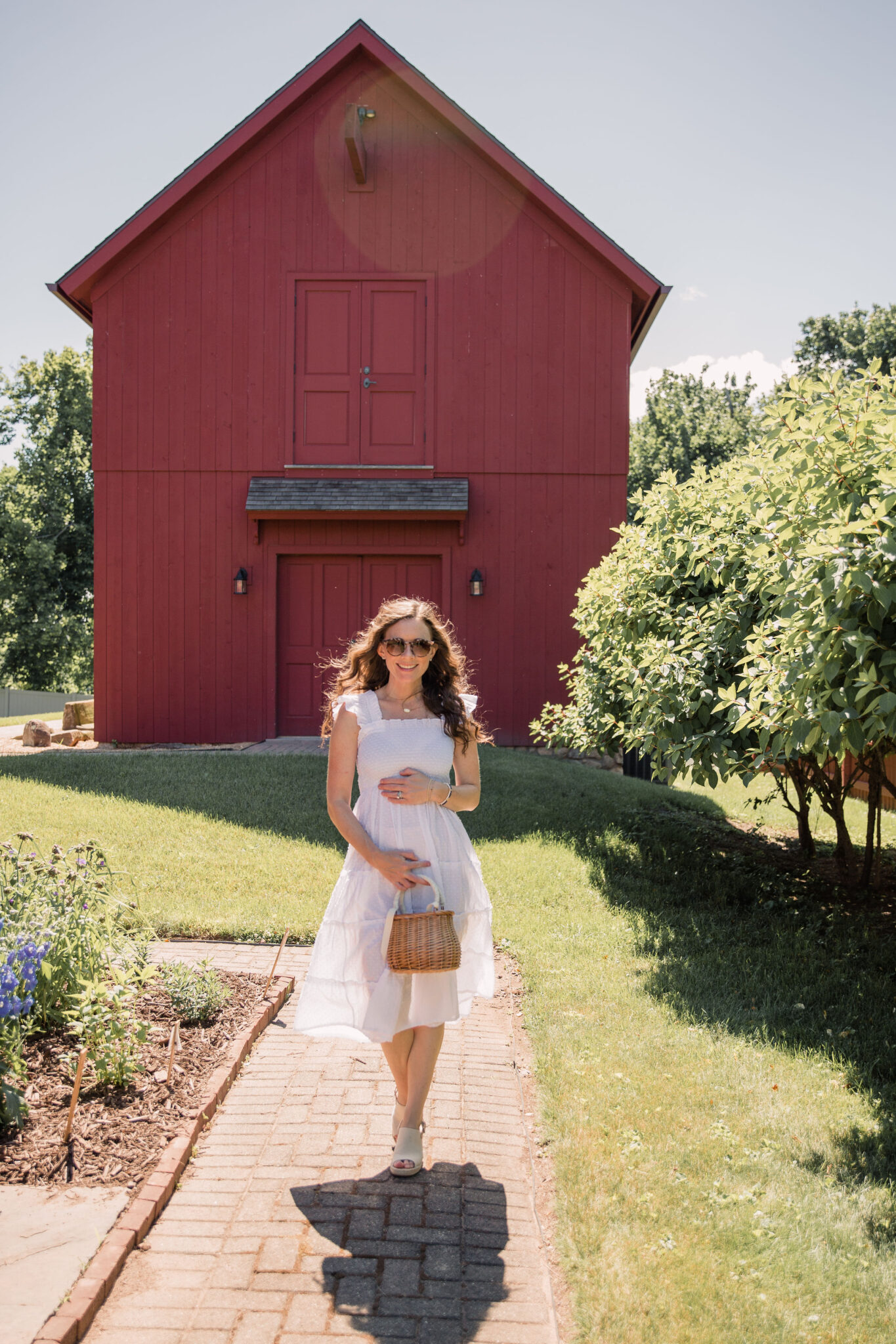 16 Weeks Pregnant in White Hill House Dress by Red Barn