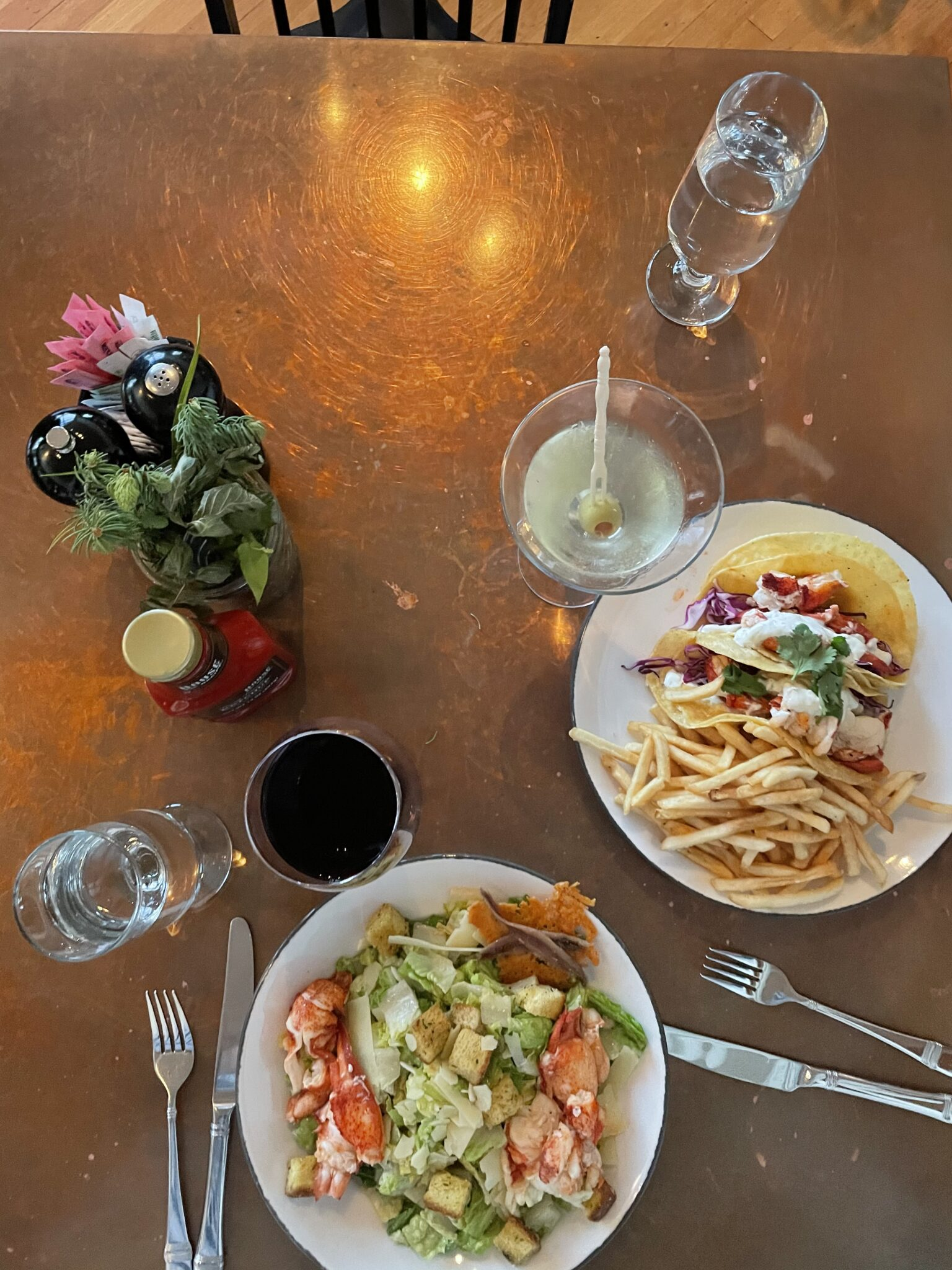 Lobster Ceasar Salad and Fish Tacos