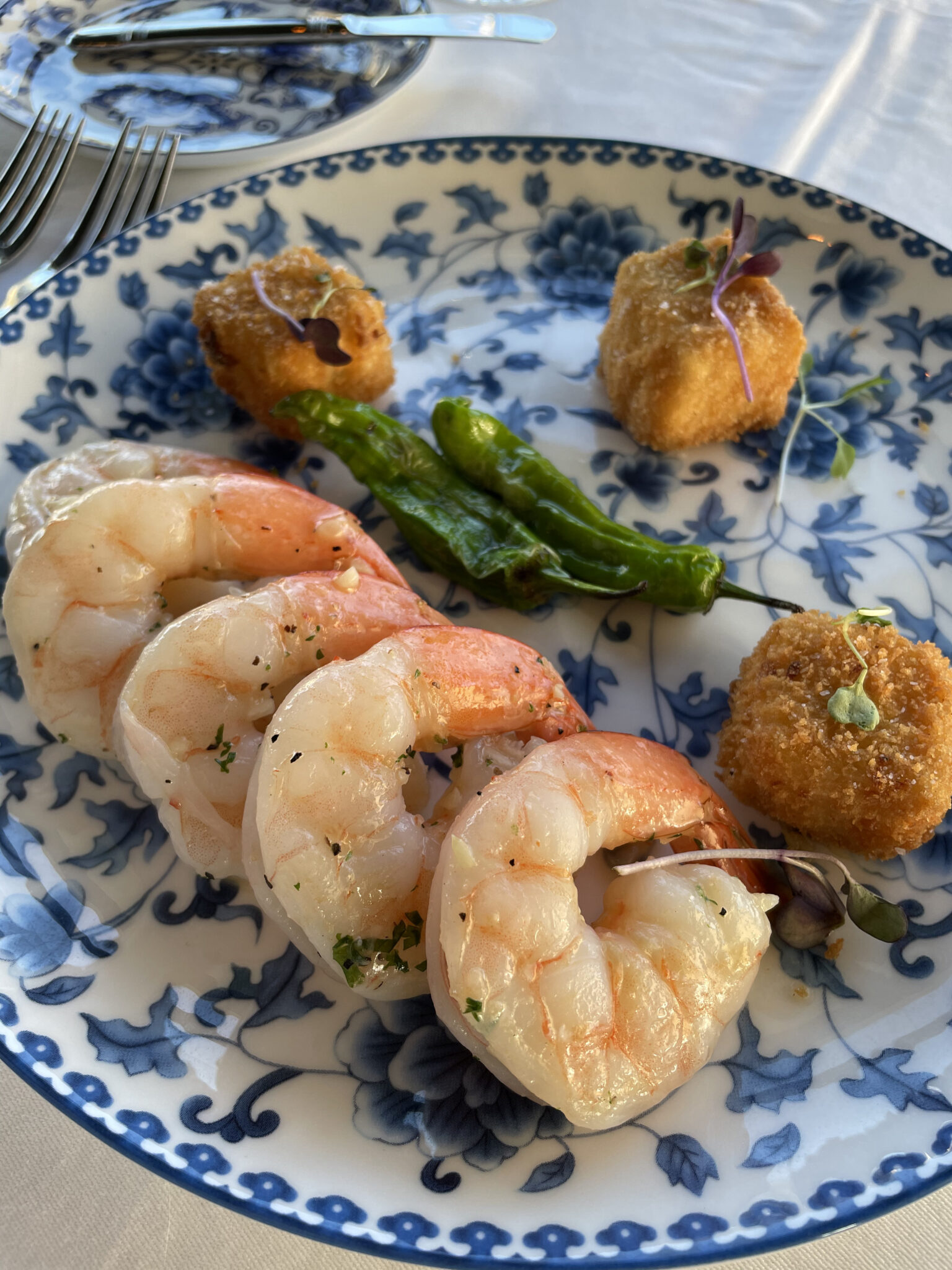 Poached Shrimp with corn grit cakes