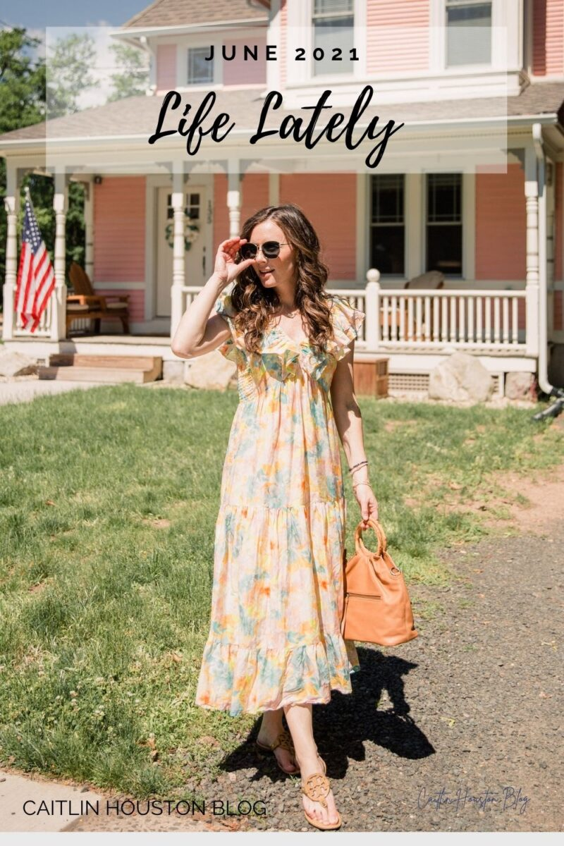 woman standing in front of pink house 17 weeks pregnant Roller Rabbit Sandrio Dress