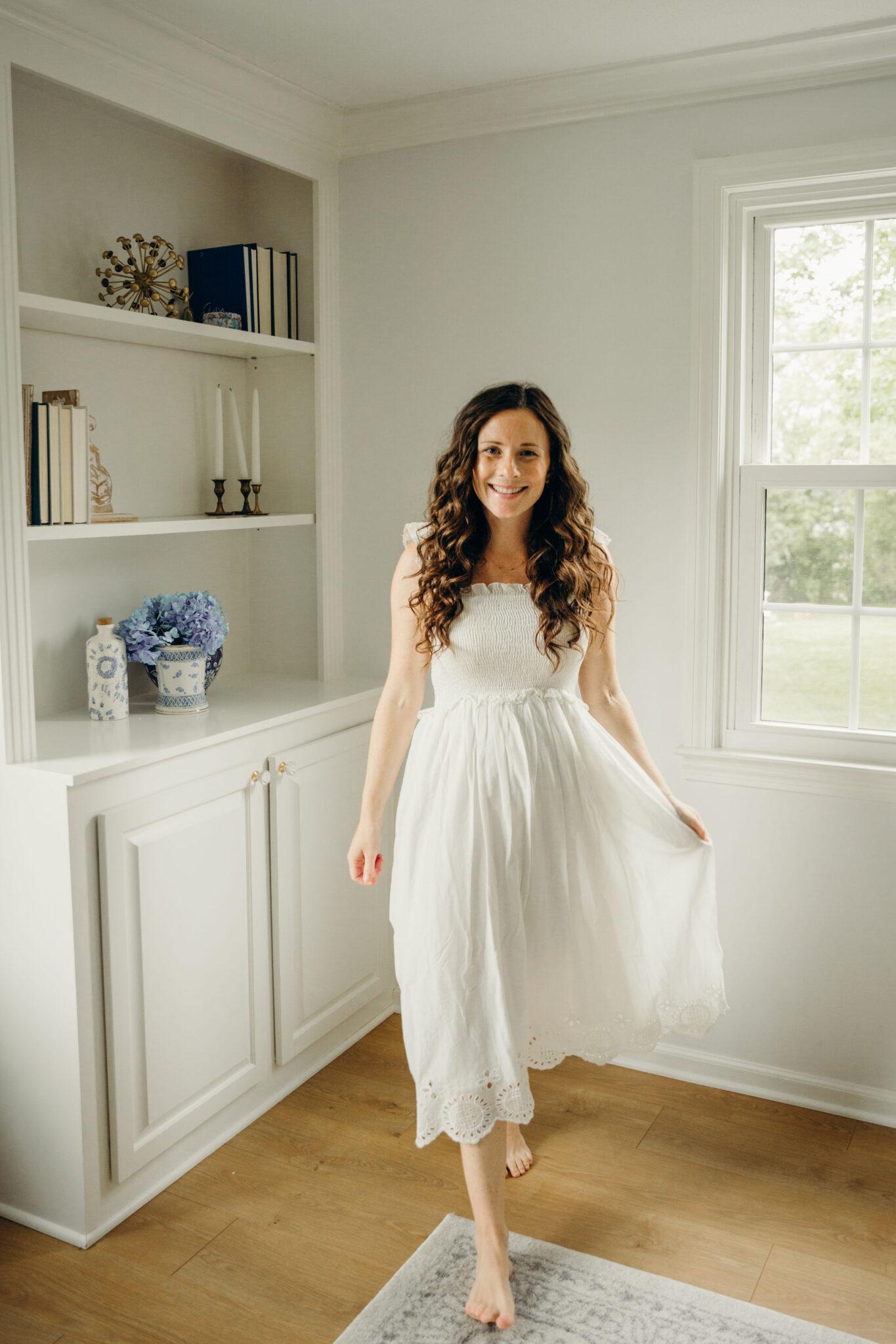 smocked white maxi dress under 50