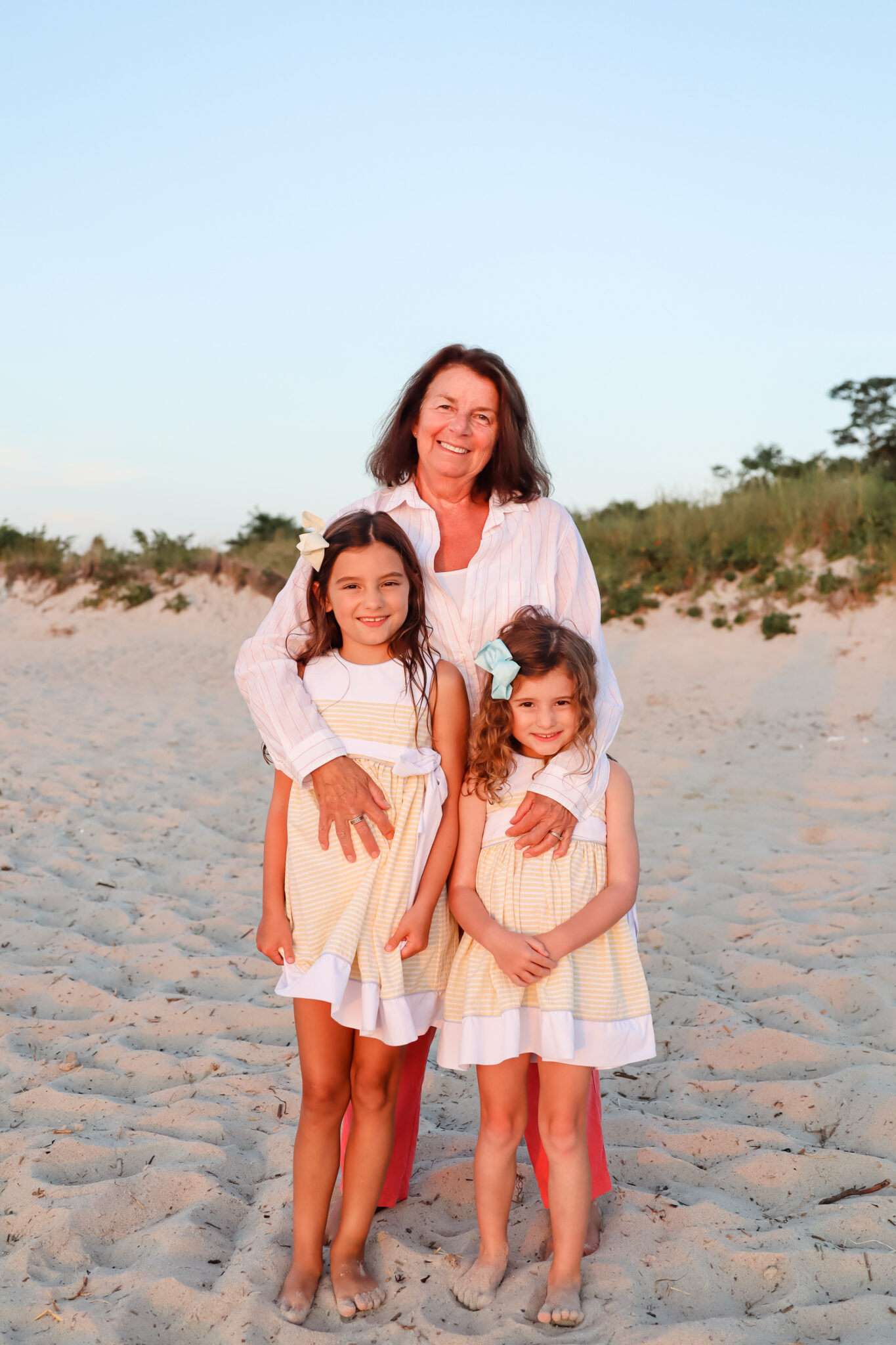 Grandma with Granddaughters Sisters Photo at Skaket Beach by Brie Anderson Cape Cod Photography