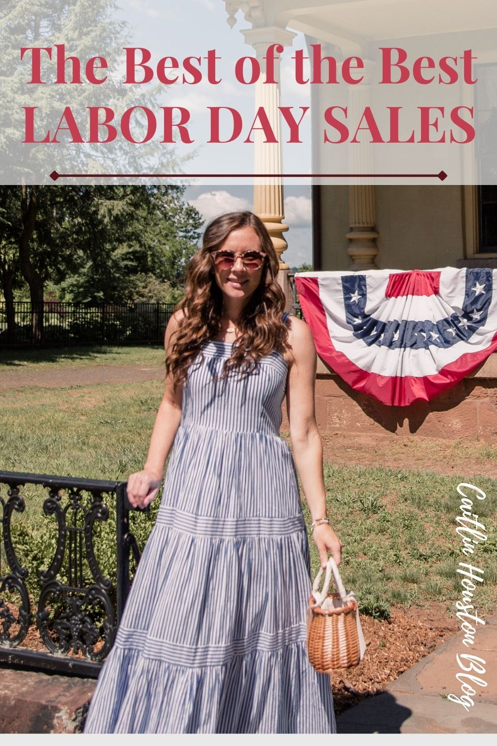 Woman in blue stripe dress for the Best Labor Day Sales