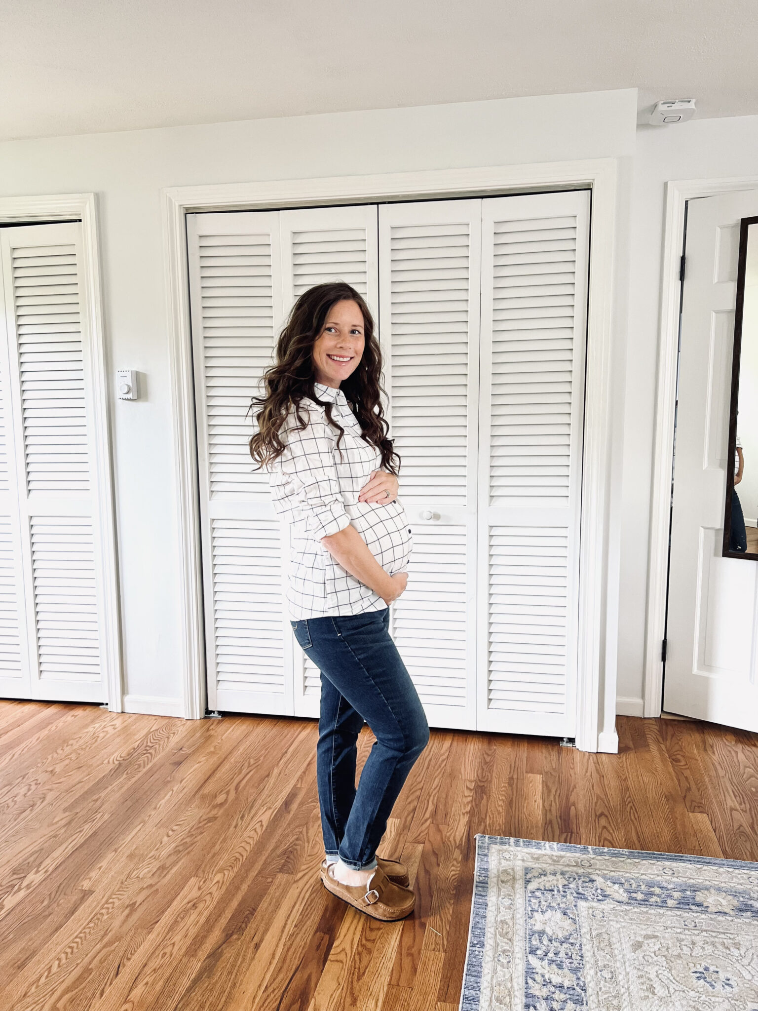 black and white button down non maternity fall shirt