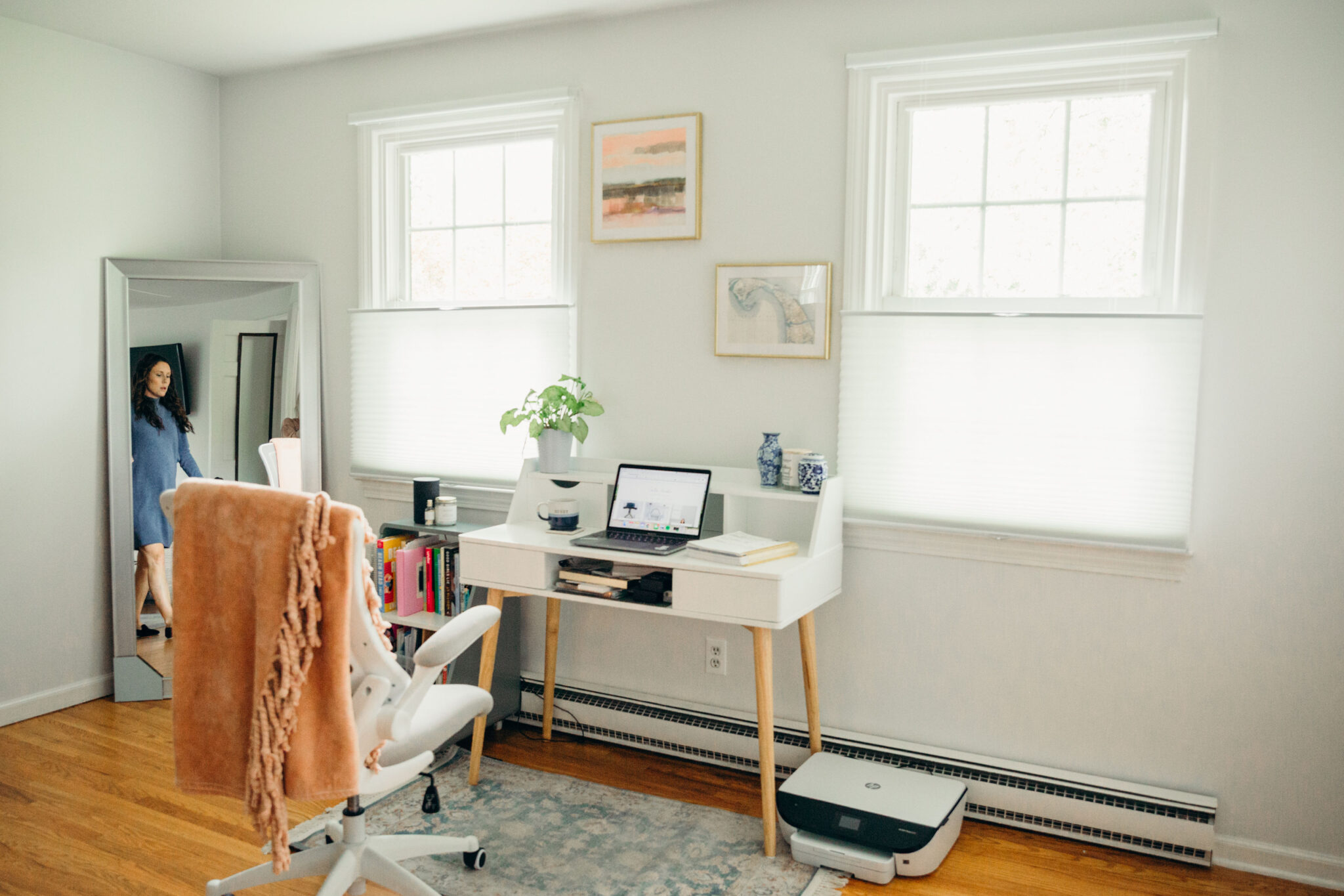 home office with Top Down Bottom Up Cellular Shades